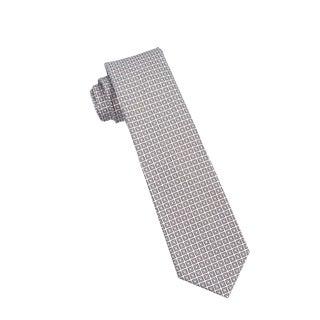 Men's Fashion Microfiber Necktie, Brown Checkered Pattern