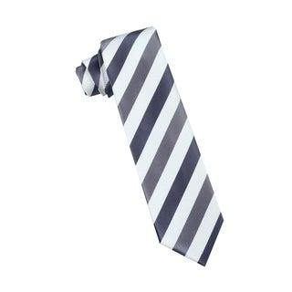 Men's Fashion Microfiber Necktie, Black/Grey/White Stripes