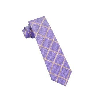 Men's Fashion Microfiber Necktie, Purple Square Pattern