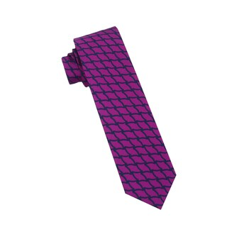 Men's Fashion Microfiber Necktie, Purple Diamond Pattern