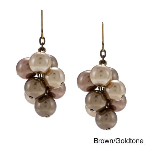 Antiqued-goldtone Brown Faux-pearl Cluster Dangle Earrings