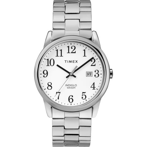 Timex Men's TW2R58400 Easy Reader Silver-Tone Stainless Steel Expansion Band Watch - silver