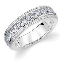Amore Platinum 1.5CT TDW Milgrain Edge Diamond Wedding Band