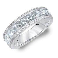 Amore Platinum 2CT TDW Milgrain Edge Diamond Wedding Band