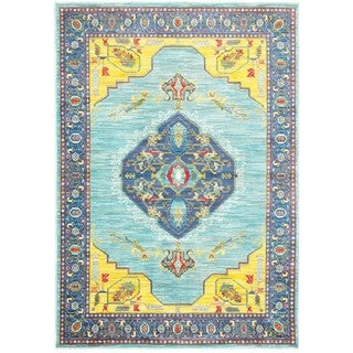 Style Haven Blue/Yellow Polypropylene Old World-inspired Medallion Area Rug (6'7 x 9'6) (As Is Item)