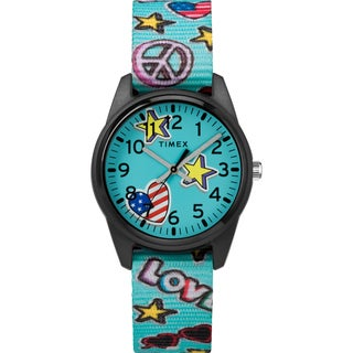 Timex Girls TW7C23500 Time Machines Teal/Stars & Flags Elastic Fabric Strap Watch - Blue