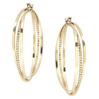 Large Silvertone Three-row Hoop Earrings