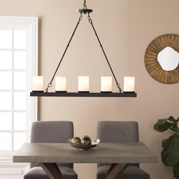 Harper Blvd Piramoly Black w/ White Glass 5 Light Island Pendant Lamp