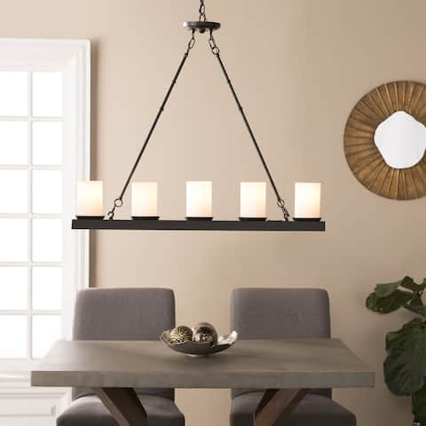 The Gray Barn Dingo Point Black with White Glass 5-light Island Pendant Lamp