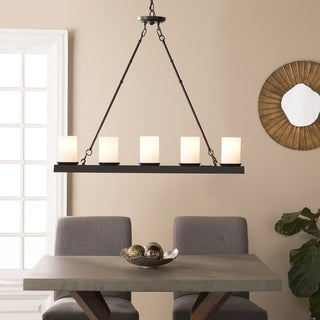 Harper Blvd Piramoly Black w/ White Glass 5 Light Island Pendant Lamp