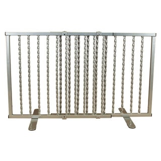 "Cardinal Gates Wrought Iron Step Over Freestanding Pet Gate 24""-41.25"" (Option: Silver)"