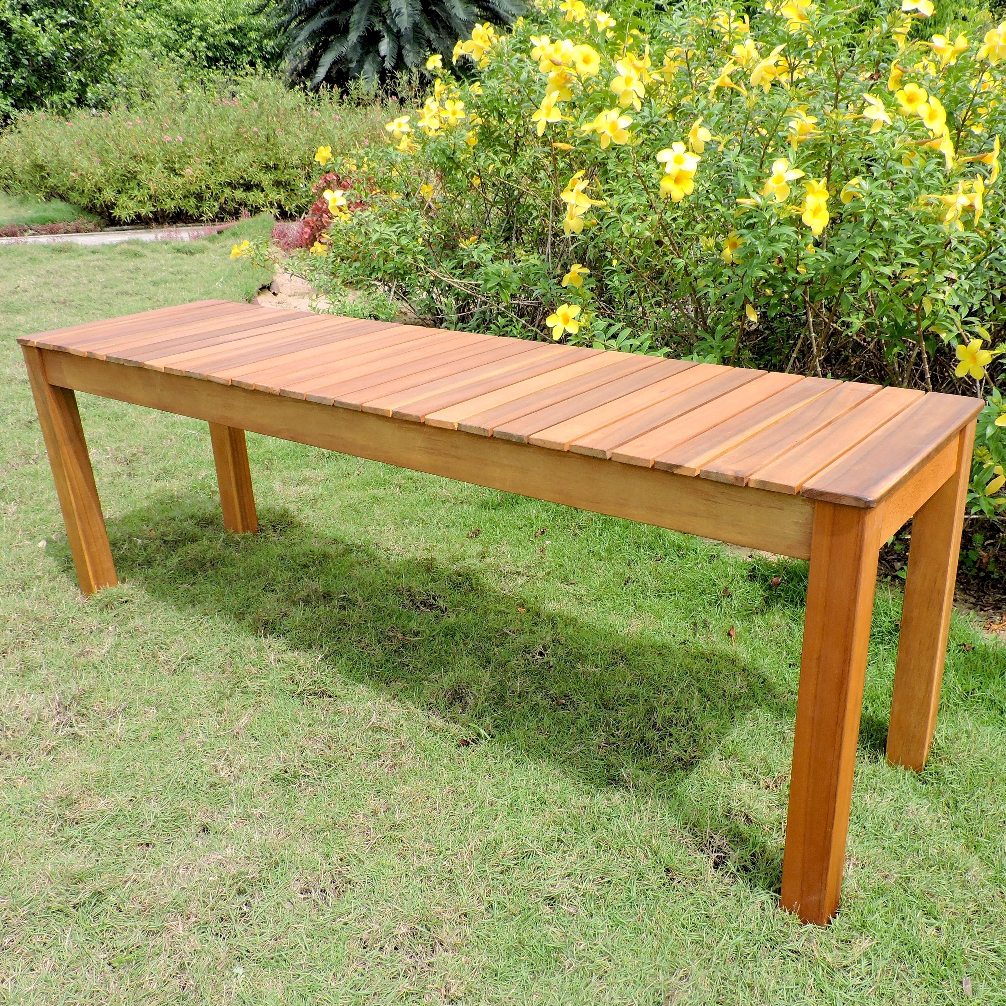 Terrific International Caravan Royal Fiji Acacia 52 Inch Garden Bench Machost Co Dining Chair Design Ideas Machostcouk