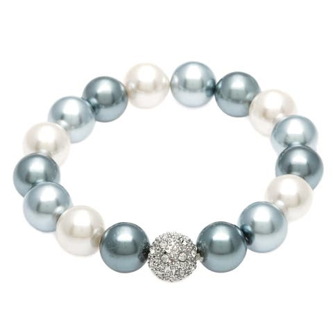 Glass Pearl Stretch Bracelet with Silver and Rhinestone Fireball Accent Bead