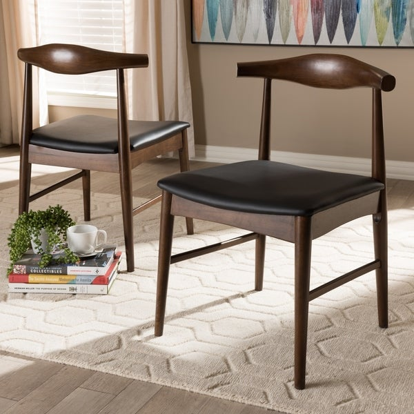 Mid-Century Black Dining Chair 2-Piece Set by Baxton Studio