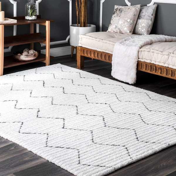Nuloom Handmade Moroccan Trellis Striped White Area Rug 6 X27 X 9