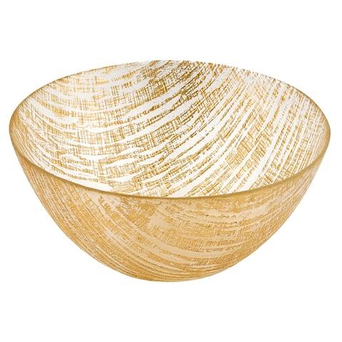 "Secret Treasure Gold Lines European Glass Serving Bowl D8.75"""