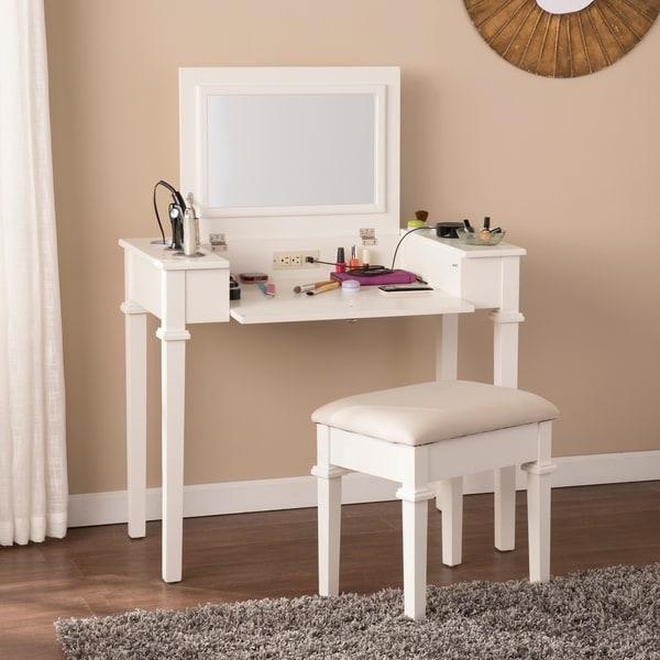 off white vanity table. Harper Blvd Rovelto Off White Powered Vanity Desk W  Stool Free