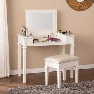 Harper Blvd Rovelto Off-White Powered Vanity Desk w/ Stool