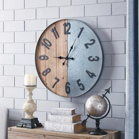 Carbon Loft Wozniak Wood/Metal Industrial Wall Clock