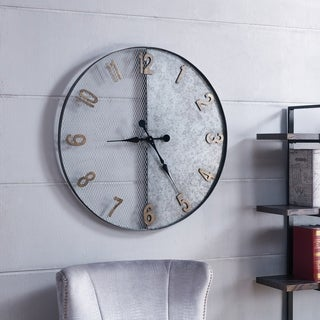 Carbon Loft Wozniak Galvanized Silver Oversized Wall Clock