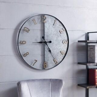 Harper Blvd Mesut Galvanized Silver Oversized Wall Clock