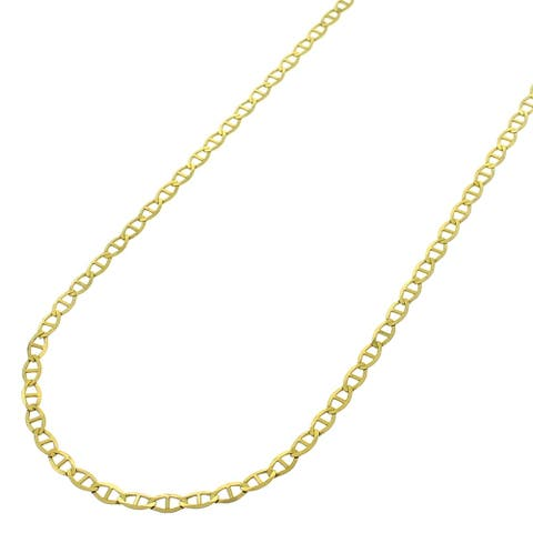 26131a37a 14k Yellow Gold 1.5mm Solid Mariner Anchor Link Flat Necklace Chain 16
