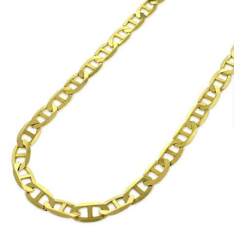 e8cebe397 10k Yellow Gold 5mm Solid Mariner Anchor Link Flat Necklace Chain 16