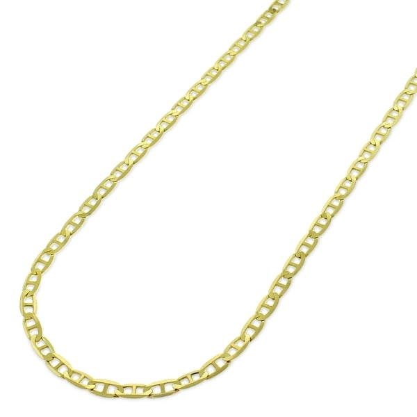 e937409accc 14k Yellow Gold 2mm Solid Mariner Anchor Link Flat Necklace Chain 16