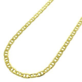 "10k Yellow Gold 3mm Solid Mariner Anchor Link Flat Necklace Chain 16"" - 30"""