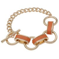 Leather Inlay Link Chain Bracelet