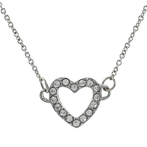 Silver Rhinestone Heart Charm Necklace