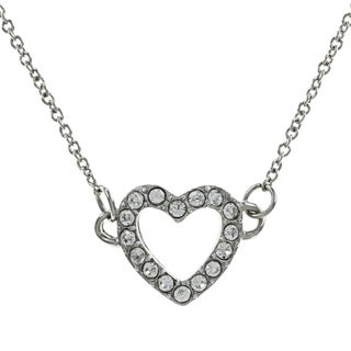 Silver Rhinestone Heart Charm Necklace