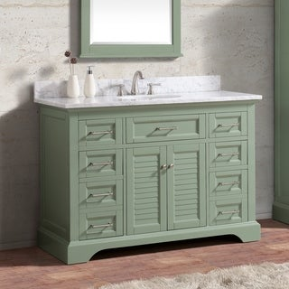 Avanity Colton 49 in. Vanity Combo Only in Basil Green with Carrara White Marble Top