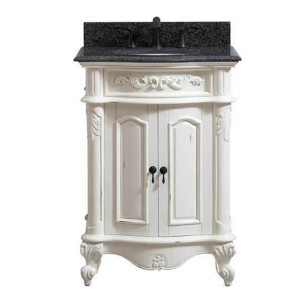 Avanity Provence 25 in. Vanity Combo in Antique White finish with Impala Black Granite Top