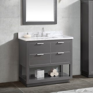 Avanity Allie 37 in. Vanity Combo in Twilight Gray with Silver Trim