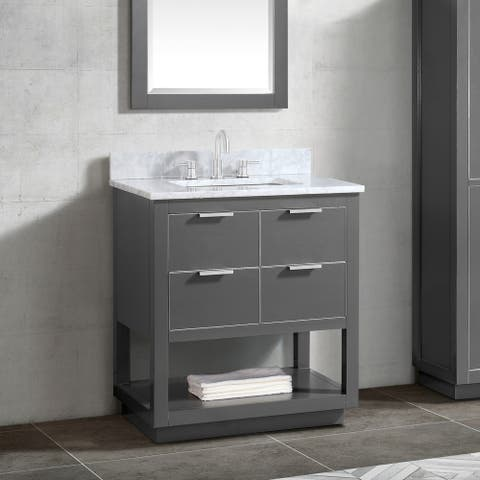 Avanity Allie 31 in. Vanity Combo in Twilight Gray with Silver Trim
