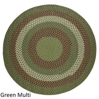 Mission Hill 4 ft Round Indoor / Outdoor Braided Area Rug - Made in USA (Sage Green - 4 Round)