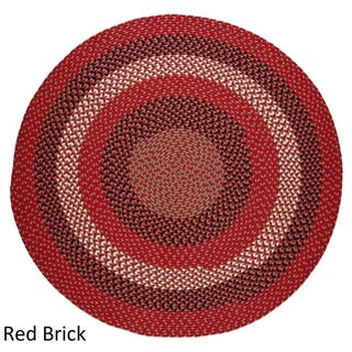 Mission Hill 4 ft Round Indoor / Outdoor Braided Area Rug - Made in USA (Red Brick - 4 Round)