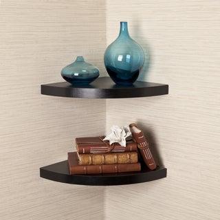 Porch & Den Canton Black Veneer Corner Radial Shelves (Set of 2)