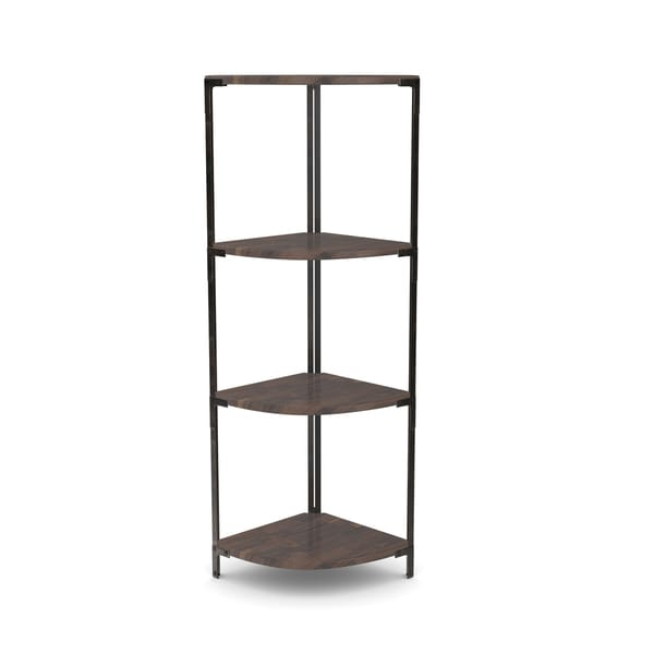 Carbon Loft Patel Distressed Pine Metal Corner Shelf