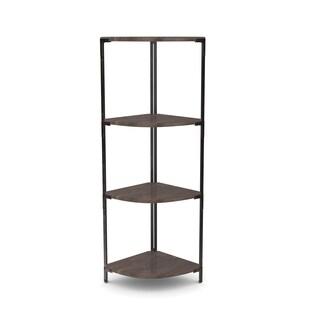 Carbon Loft Patel Distressed Pine/ Metal Corner Shelf