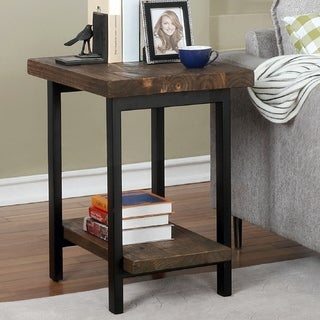 Carbon Loft Lawrence Metal and Reclaimed Wood End Table with Shelf