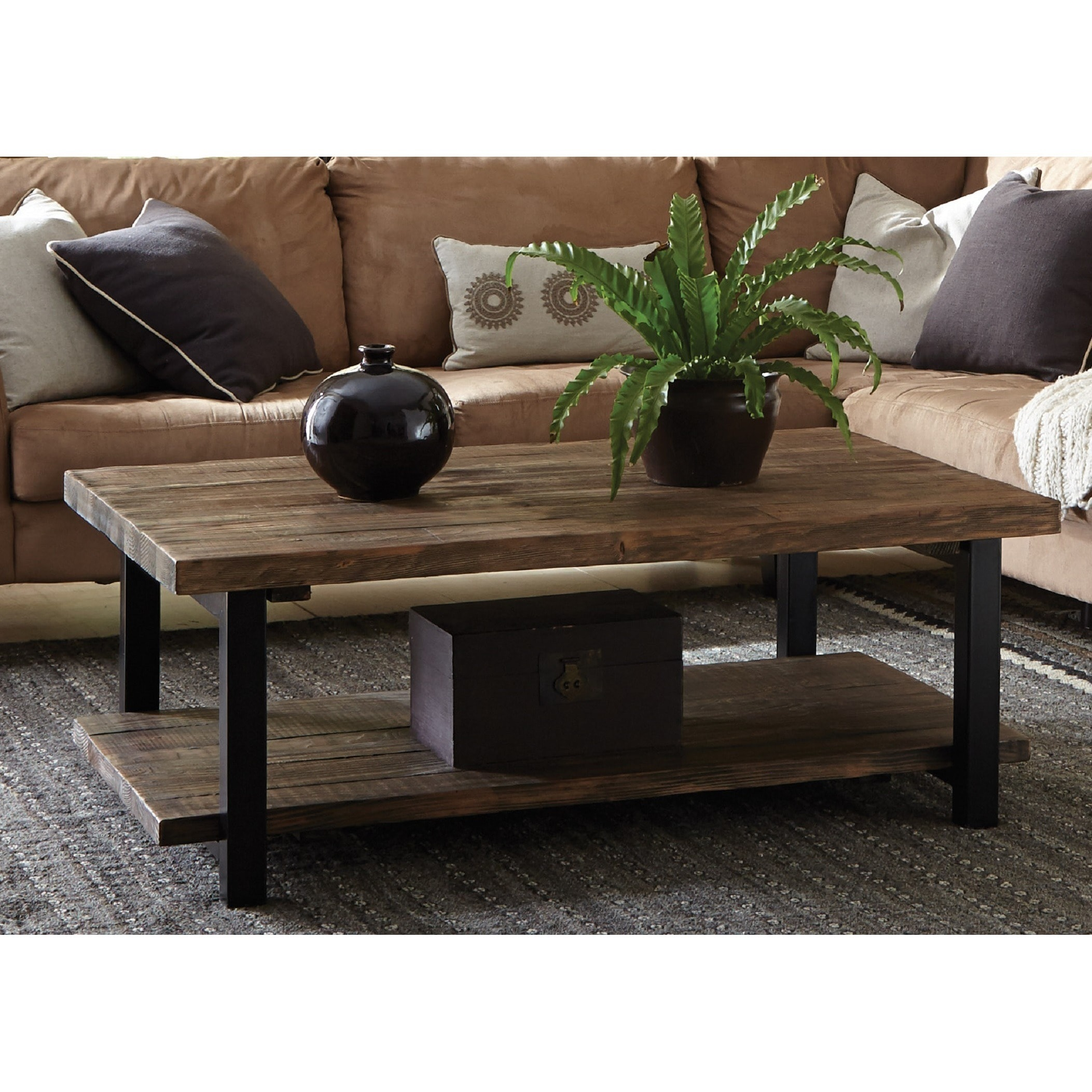 Carbon Loft Lawrence 48 Inch Metal And Reclaimed Wood Coffee Table Overstock 20306445