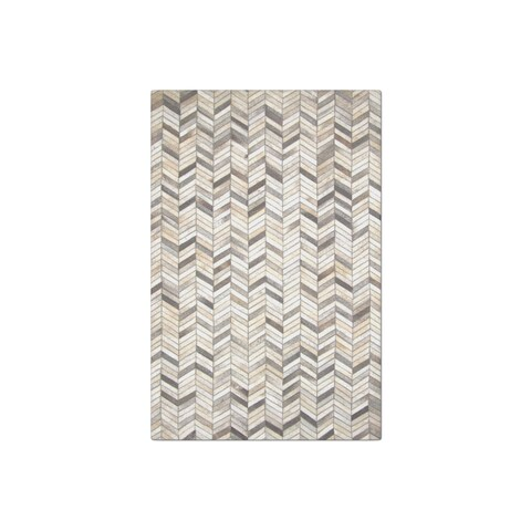 Carbon Loft Montgolfier Hand-stitched Grey Chevron Cow Hide Leather Rug (8' x 10')
