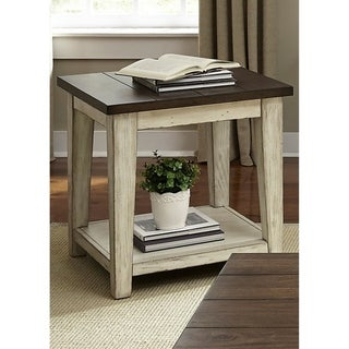 The Gray Barn Vermejo Weathered Bark and White End Table