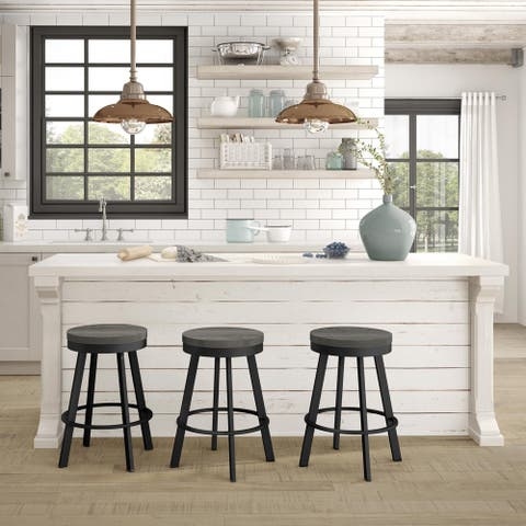 Amisco Warner Swivel Counter Stool with Distressed Wood Seat