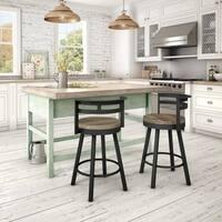 Carbon Loft Murdock Swivel Metal Barstool with Distressed Wood Seat
