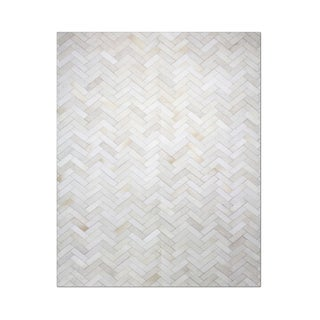 Carbon Loft Montgolfier White Hand-stitched Chevron Cow Hide Leather Rug - 7'10 x 10'10