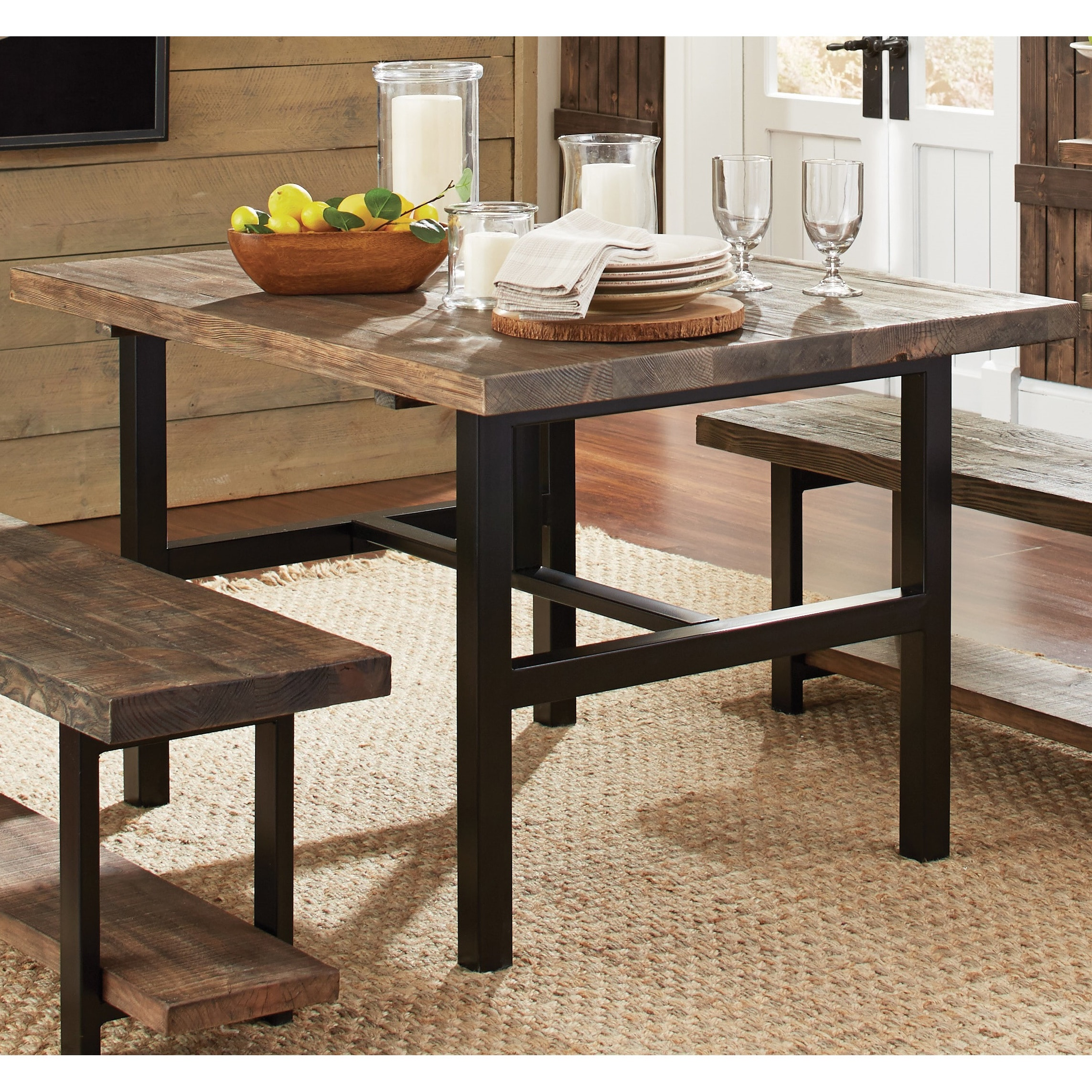 Carbon Loft Lawrence Reclaimed Wood 48 Inch Dining Table Brown