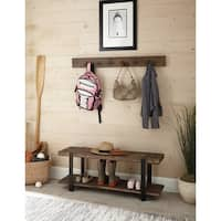 Carbon Loft Kenyon Metal and Reclaimed Wood 48-inch Storage Coat Hook with Bench